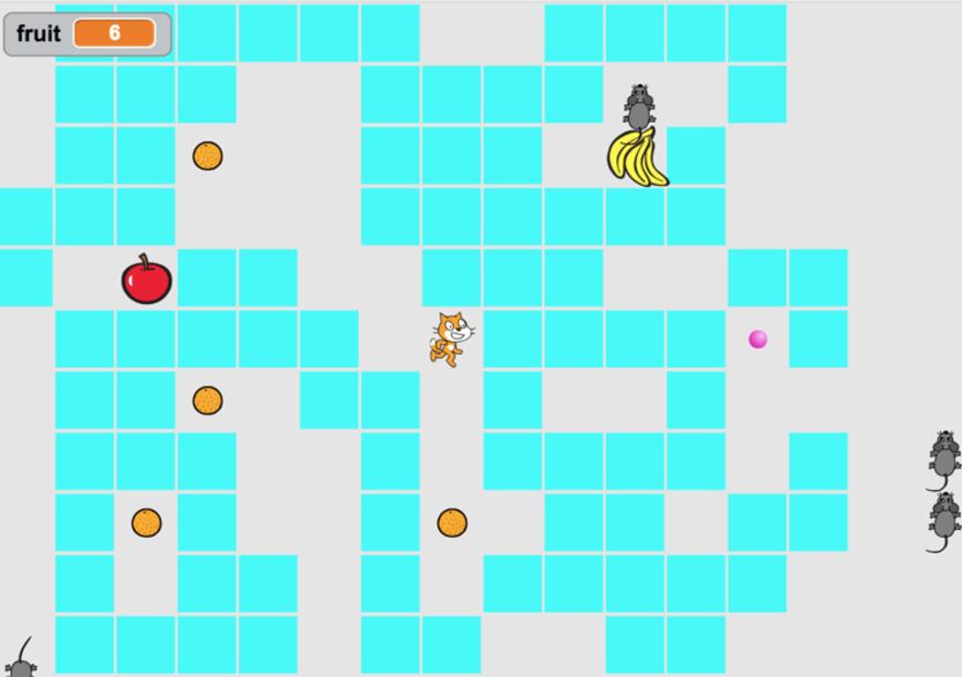 ネズミの動きを封じ込めよう!パックマンのようなパズルゲームのScratch教材