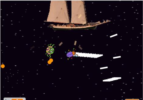 全方向スクロールするシューティングゲームのScratch教材