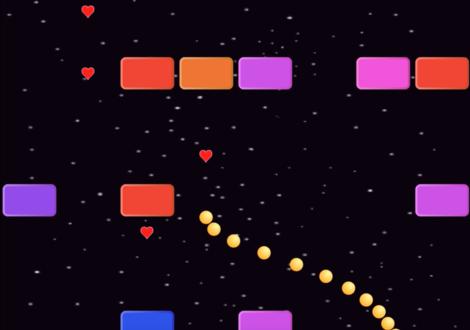 ヘビのように連なったキャラクターがブロックを避けて進んでいくScratchゲームの例